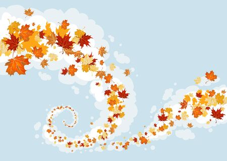 Swirl of leaves in the sky Vector