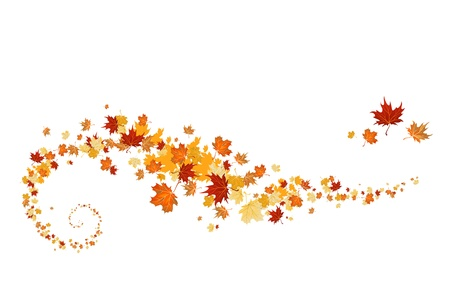 autumn background: Swirl of maple leaves Illustration
