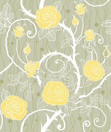 thorn: Yellow flowers seamless