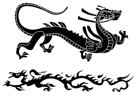 chinese dragon: Two ancient dragons  Illustration