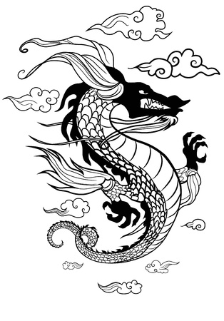 dragon tattoo design: Vector dragon