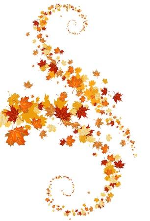 dode bladeren: laat swirl met ruimte voor tekst Stock Illustratie