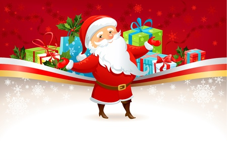 Festive background with Santa Claus  with space for text