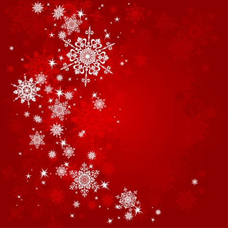 snowflake: Red Christmas background with space for text   Illustration