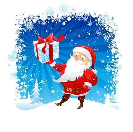 santa claus cartoon: Santa holding Christmas gift