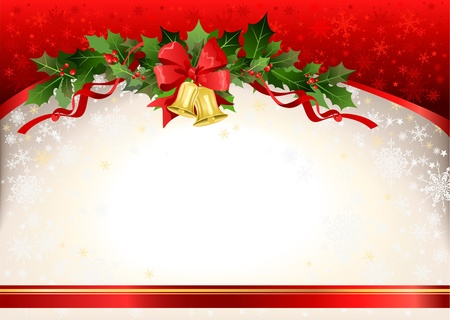 Christmas festive background with bells Vector Illustration