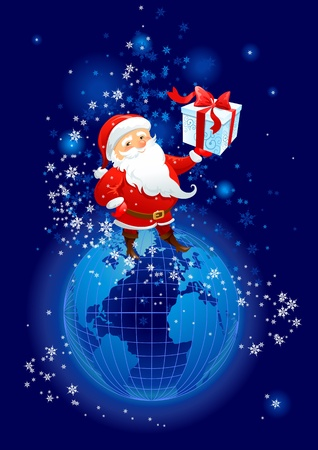 Santa Claus on the planet Earth Vector