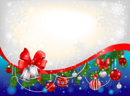 silver bells: Blue сhristmas background with silver  bells