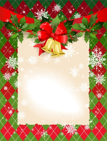 Christmas  background with bells and holly with space for text   Illustration
