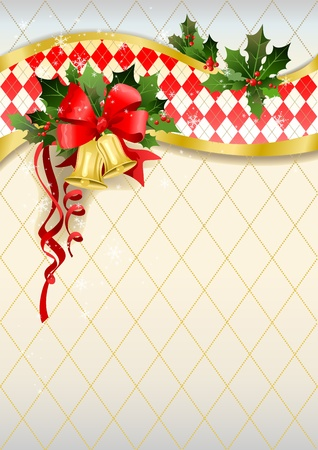 christmas berries: Sfondo Natale con campane, con spazio per il testo Vettoriali
