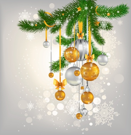 golden and silver balls hanging on the tree Vector