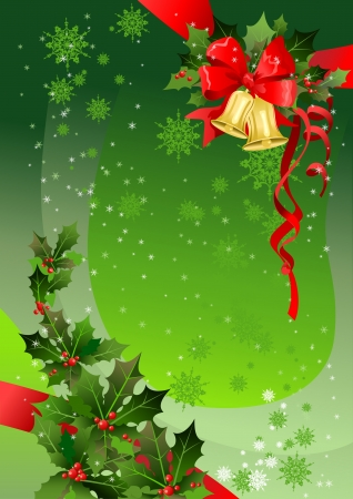 Green Christmas background with holly. Space for text