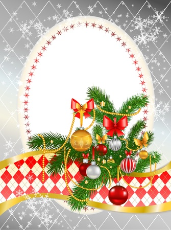 december background: Beautiful decorated Christmas tree with space for text   Illustration