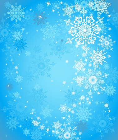 Blue snow background with space for text   Stock Vector - 11064366