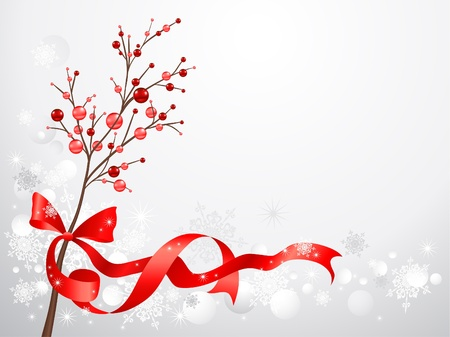 christmas trees: Red christmas berries  on snow background with space for text Illustration