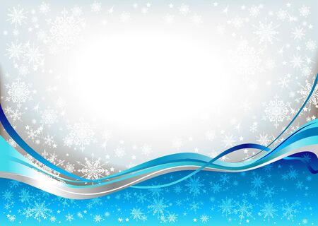 Blue waves snow background Stock Vector - 11372476