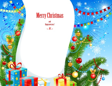 new year celebration: Bright christmas background with christmas tree and space for text Illustration
