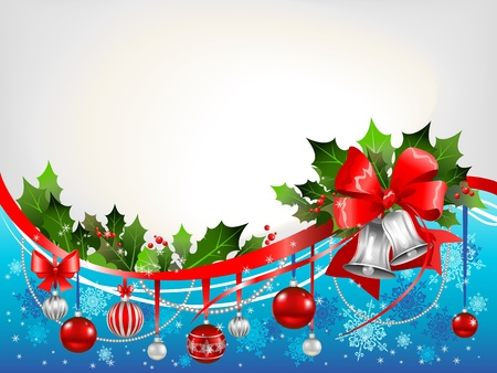 hristmas: Сhristmas background with silver bells and beautiful decoration Illustration