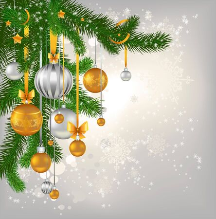 Golden and silver сhristmas balls hanging   Vector