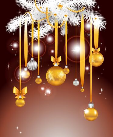 Christmas night background with balls Stock Vector - 11372477