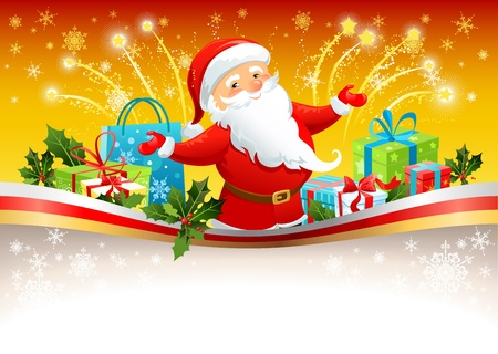 cartoon santa: Festive background with Santa Claus Illustration