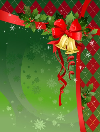 festive: Christmas festive background with bells. Space for text