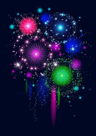Festive firework on black background