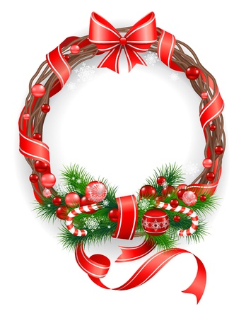 white sugar: Christmas wreath with  spruce  tree