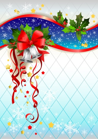 silver bells: Silver bells winter background with space for text