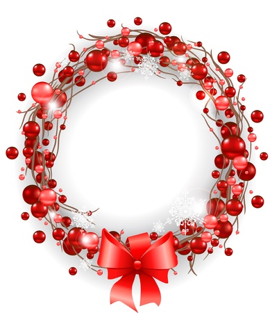 berry: Christmas wreath with red bow