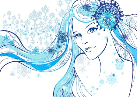 Beautiful girl and snowflakes Vetores