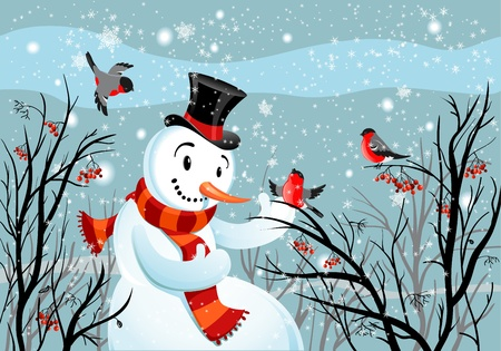 bullfinch: Birds bullfinch and snowman Illustration