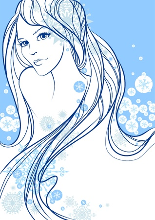 Beautiful winter girl Stock Vector - 11654909