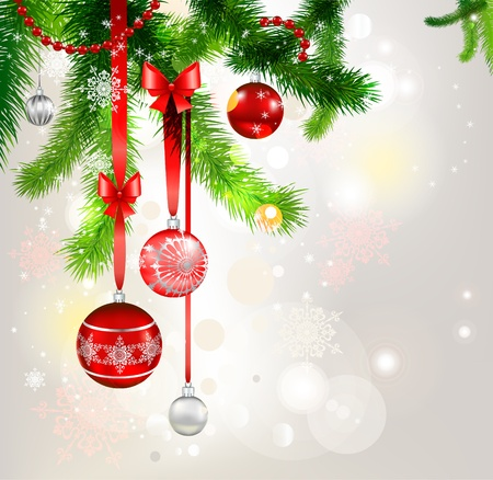 Christmas balls and christmas tree. eps 10 Vector