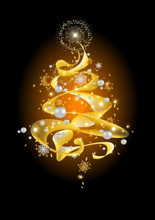Golden abstract Christmas tree  Vector