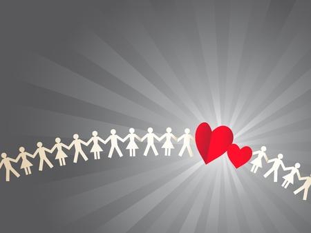 mu�ecas de papel: Papel multitud con dos corazones Vectores