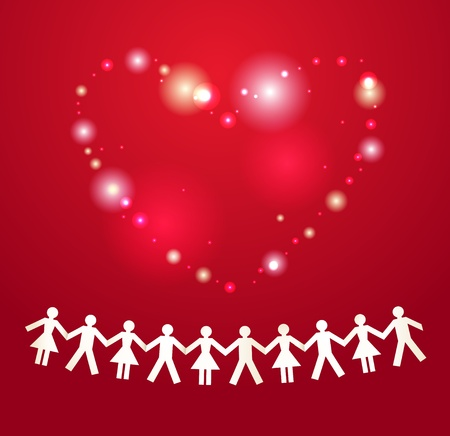 hand holding paper: Paper crowd with heart on background Illustration
