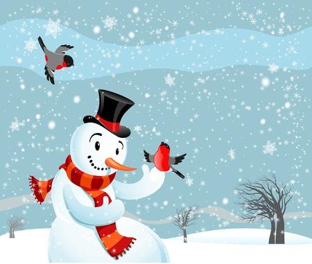 winter holiday background: Snowman  and birds bullfinch