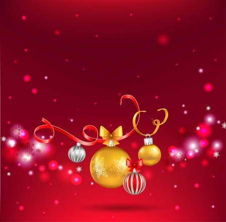 Christmas balls on red background  Vector