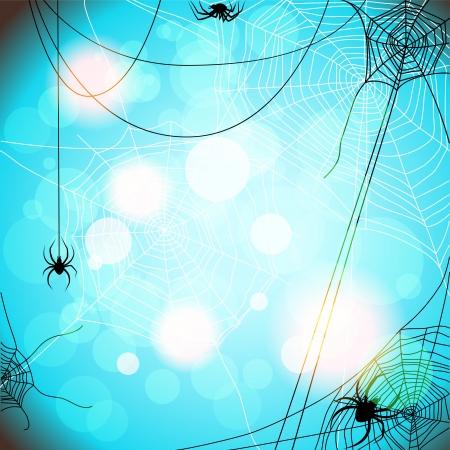 Blauwe achtergrond met spinnen en web met ruimte voor tekst Vector Illustratie