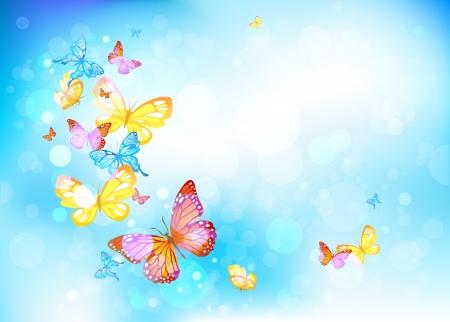 Mariposas hermosas en un cielo azul