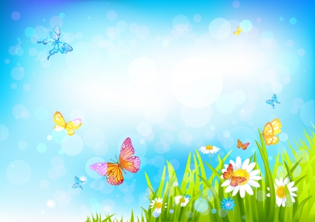 Summer sunny background with with beautiful flowers and butterflies Vector