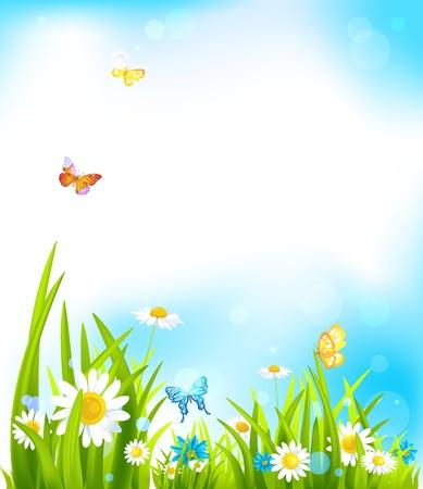 Vector voorjaar achtergrond met mooie bloemen en vlinders