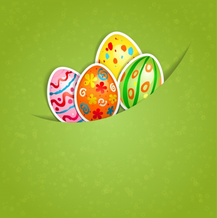 Easter green background with egg with space for text Vector