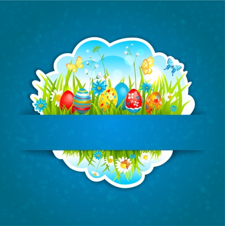 Happy Easter blue background with shadow  Space for text Stock Vector - 17858832