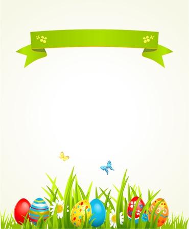 pascuas navide�as: Primavera Pascua fondo con huevo