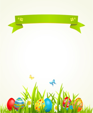 easter sign: Spring Easter background with egg