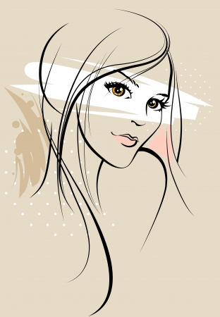 sensuality: Beautiful girl sketch Illustration