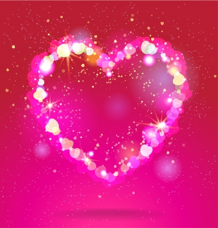 Shining heart  on red background Vector