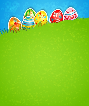 easter message: Easter background and egg in grass with space for text